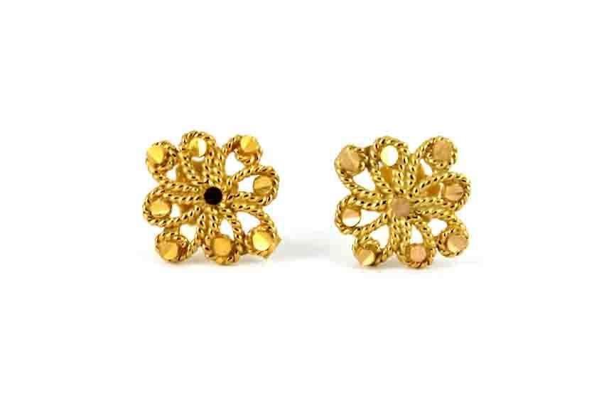 22ct 916 Yellow Gold Square Flower Small Kids Baby Stud Earrings SE113