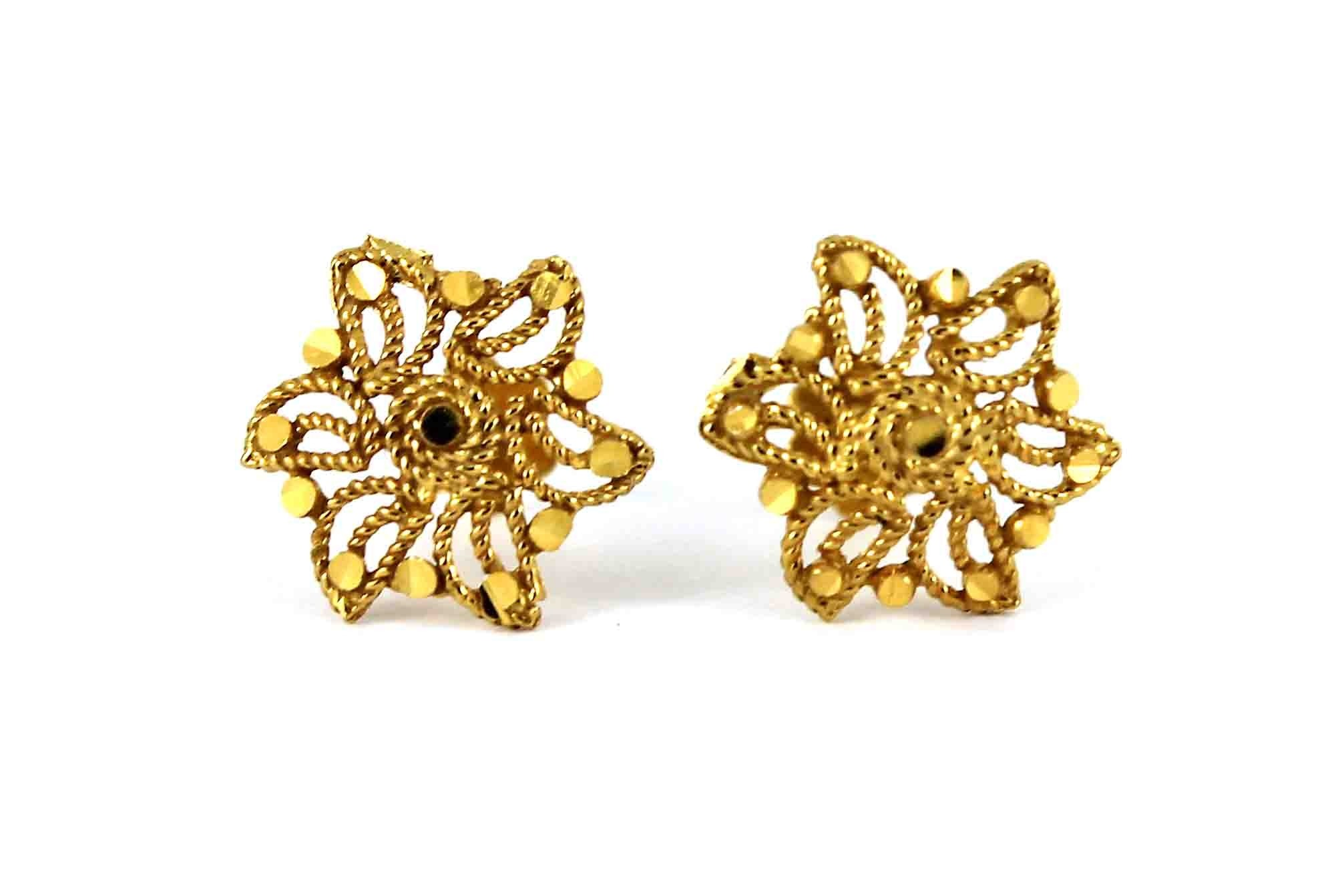 22ct 916 Yellow Gold Flower Small Kids Baby Stud Earrings SE115