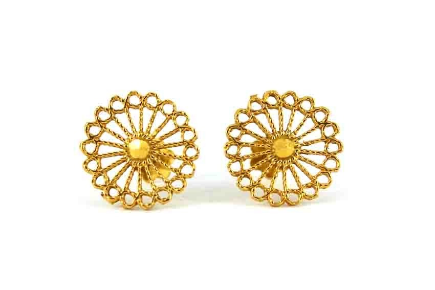 22ct 916 Yellow Gold Round Wheel Small Kids Baby Stud Earrings SE116