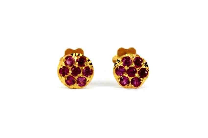 22ct 916 Yellow Gold Round Ruby CZ Small Kids Baby Stud Earrings SE117