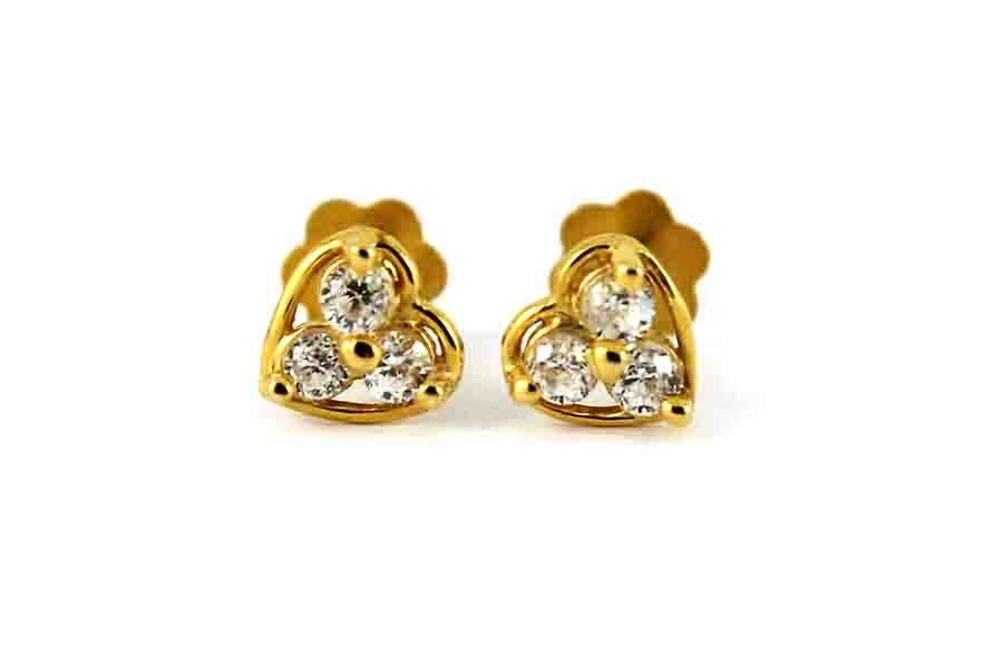 22ct 916 Yellow Gold CZ Studs Small Kids Baby Stud Earrings SE118