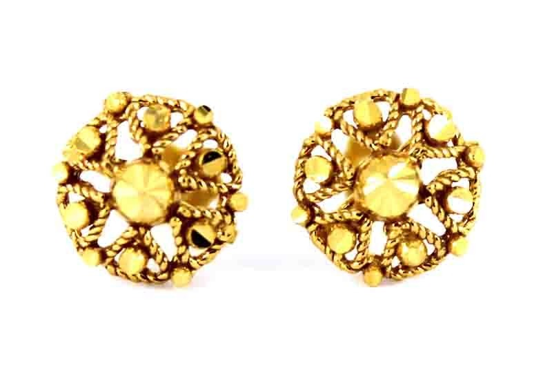 22ct 916 Yellow Gold Round Small Kids Baby Stud Earrings SE119