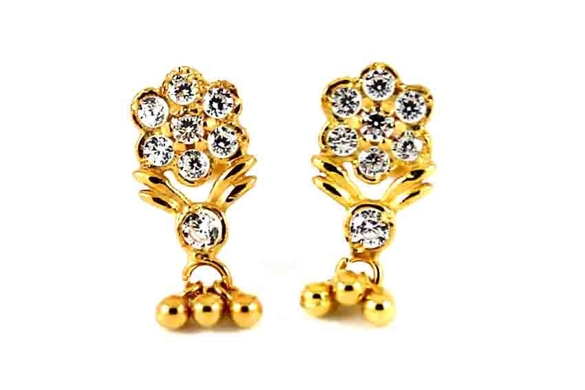 22CT 916 Yellow Gold Kids Tops Dangle Earring with white CZ SE123