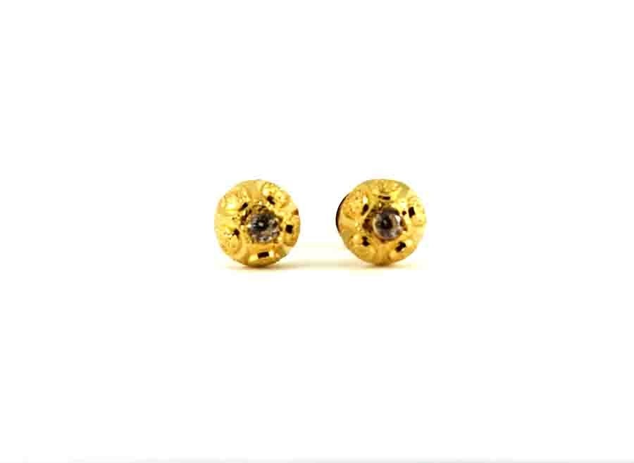 22ct 916 Yellow Gold Half Ball Small Round Stud Tops Earrings with CZ SE126