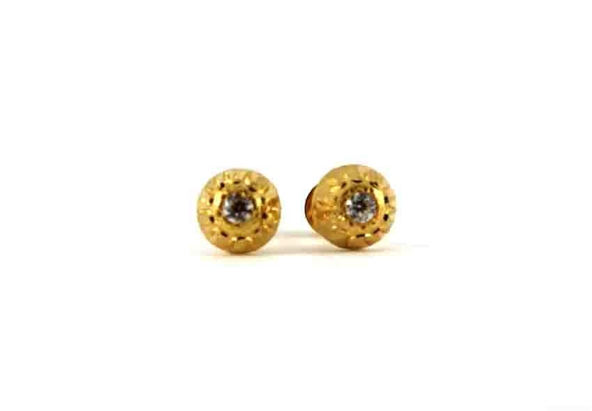 22ct 916 Yellow Gold Half Ball Small Round Stud Tops Earrings with CZ SE129