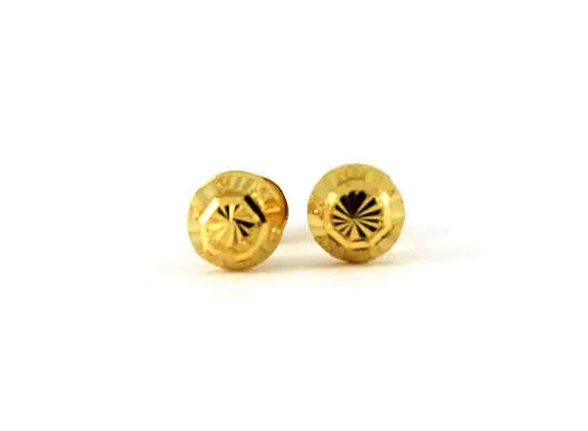 22ct 916 Yellow Gold Half Ball Small Round Stud Tops Earrings  SE130