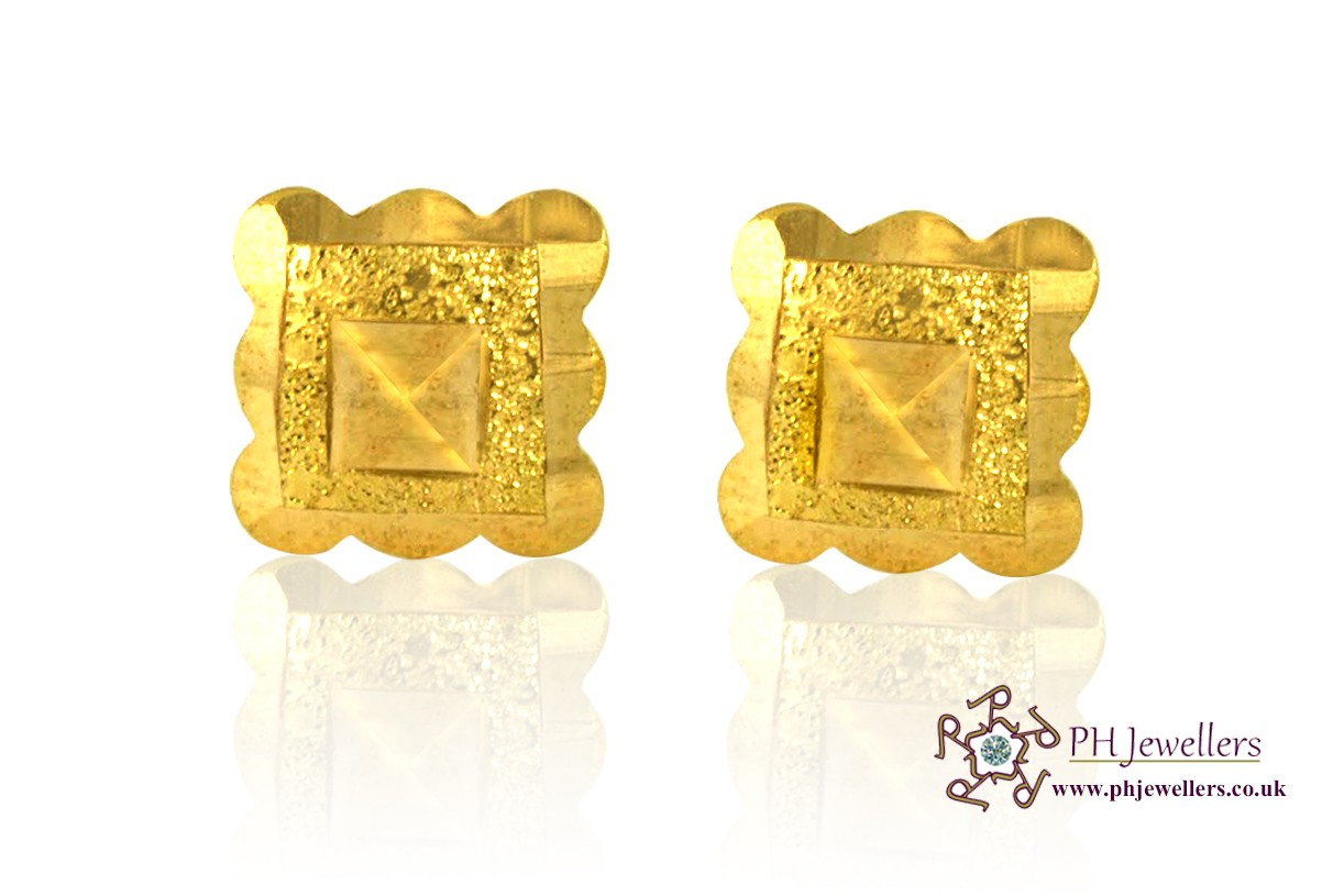 22ct 916 Yellow Gold Square Earrings SE15