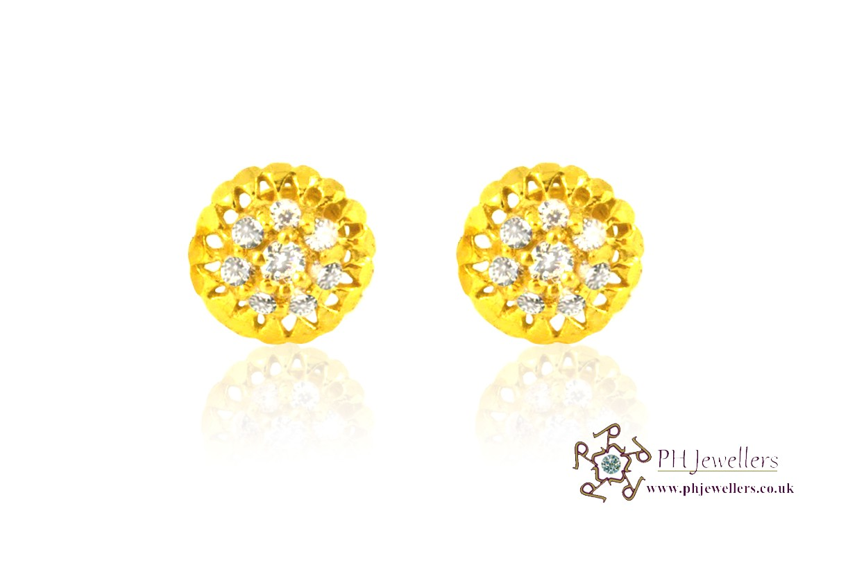 22ct 916 Yellow Gold Stud Earrings CZ SE16