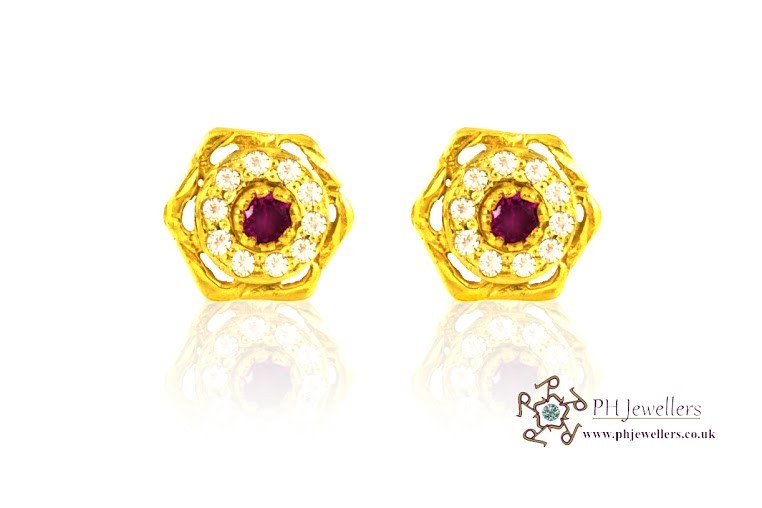 22ct 916 Yellow Gold Stud Earrings SE19