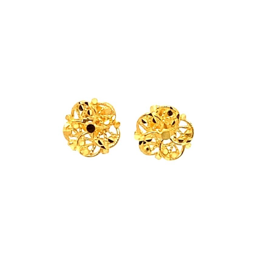 22ct 916 Yellow Gold Small Round Flower Kids Stud Tops Earrings SE200