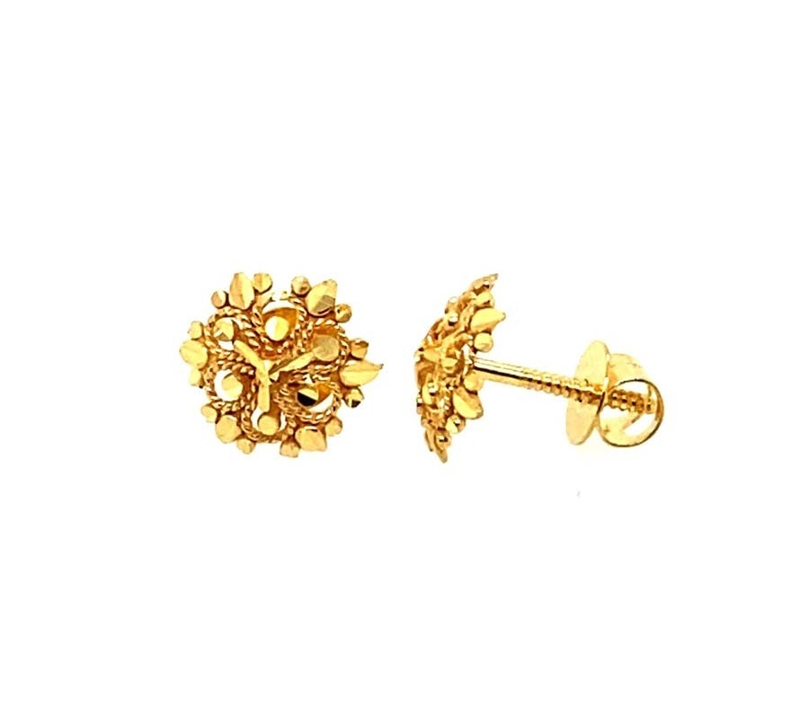 22ct 916 Yellow Gold Small Round Flower Kids Stud Tops Earrings SE202