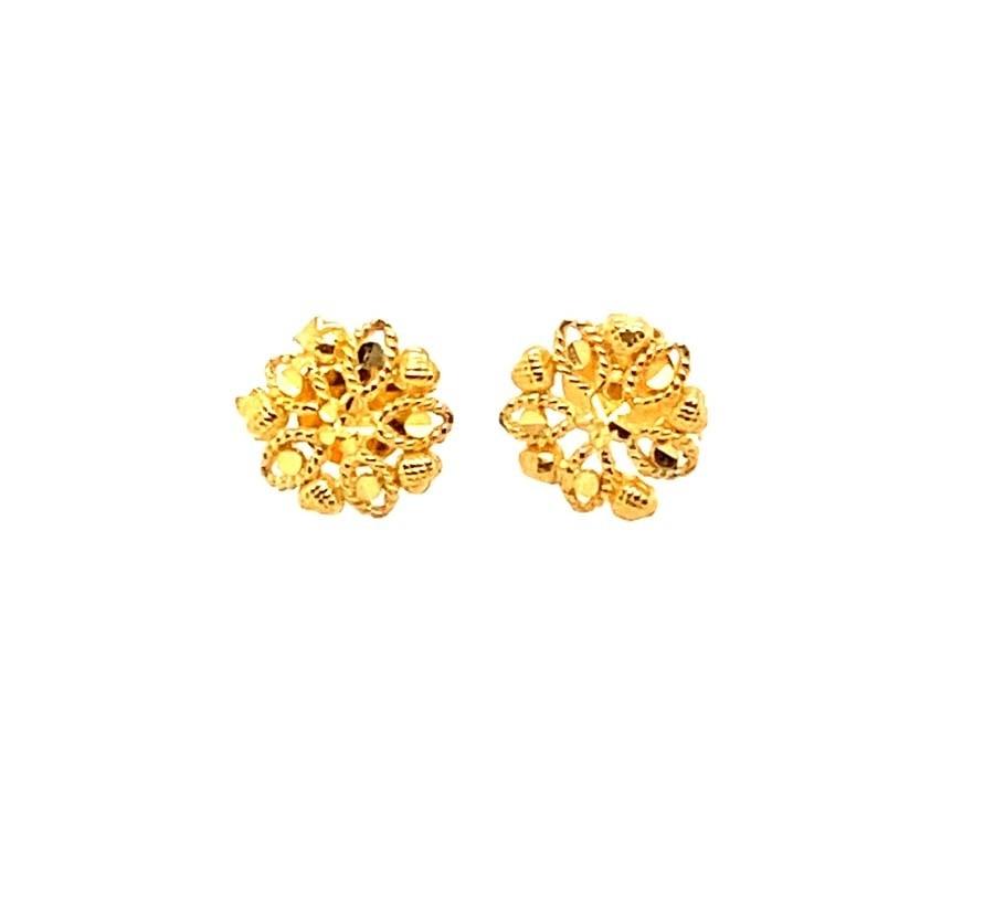 22ct 916 Yellow Gold Small Hexagon Flower Kids Stud Tops Earrings SE204