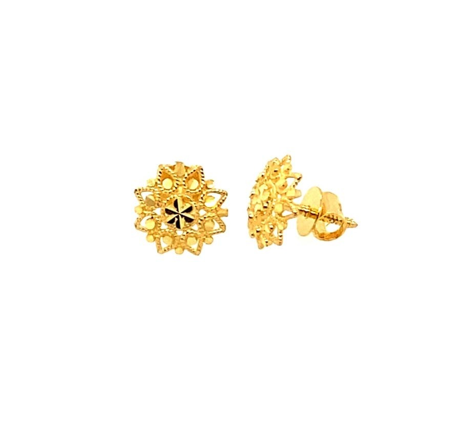 22ct 916 Yellow Gold Small Round Flower Kids Baby Stud Tops Earrings SE205