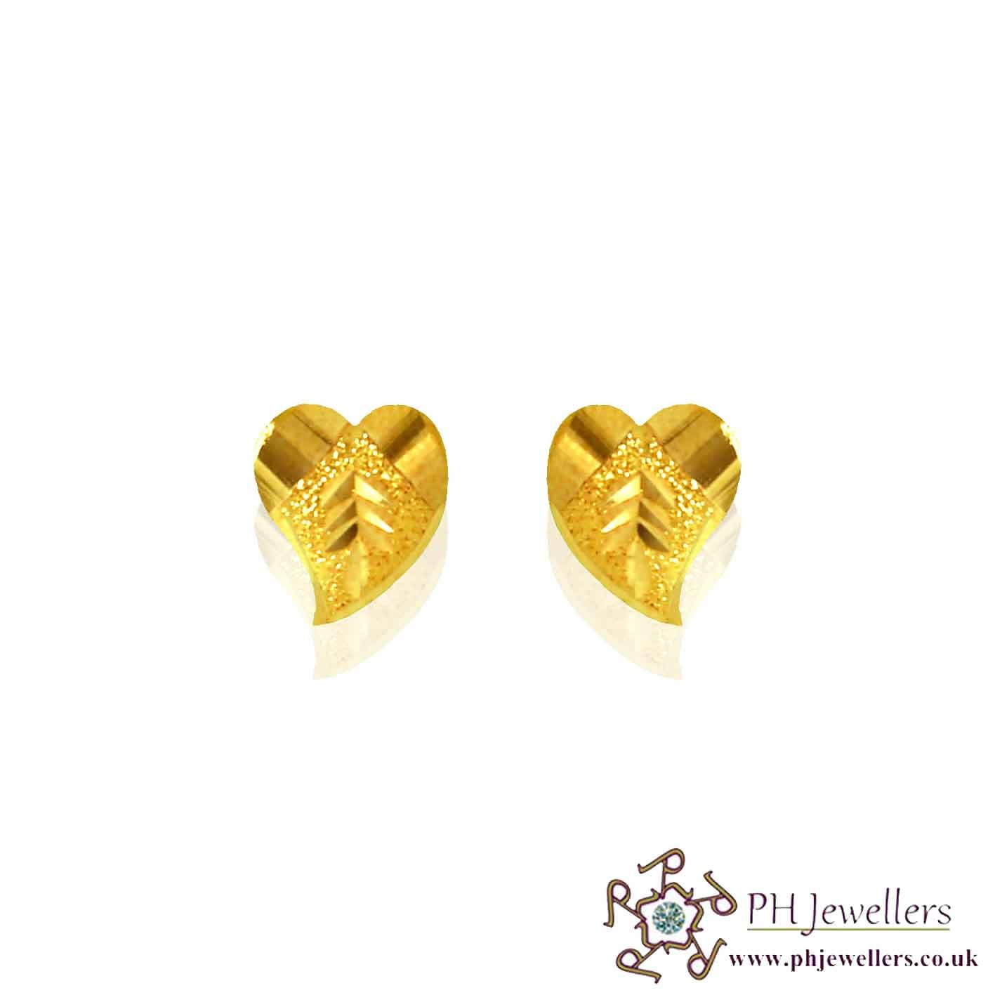 22ct 916 Yellow Gold Heart Earring SE22