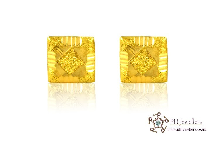 22ct 916 Yellow Gold Square Earrings SE26