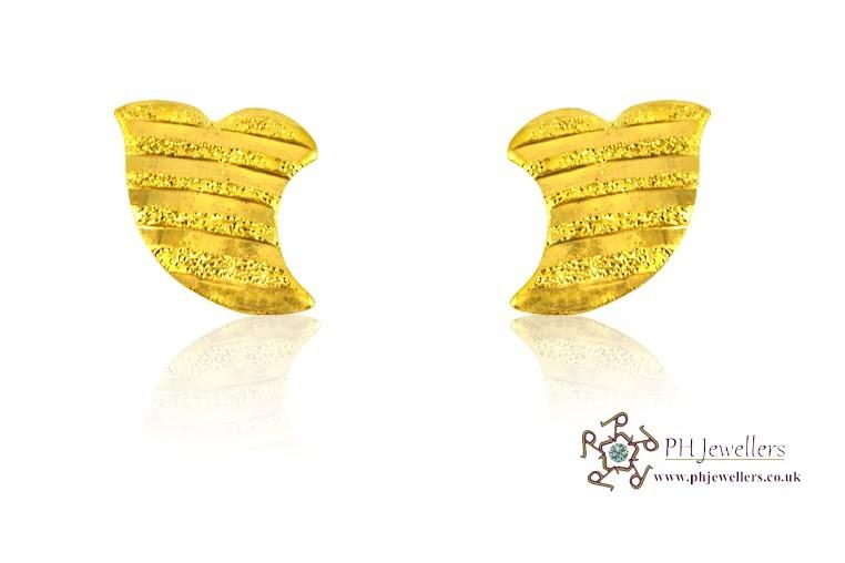 22ct 916 Yellow Gold  Leaf Earrings SE28