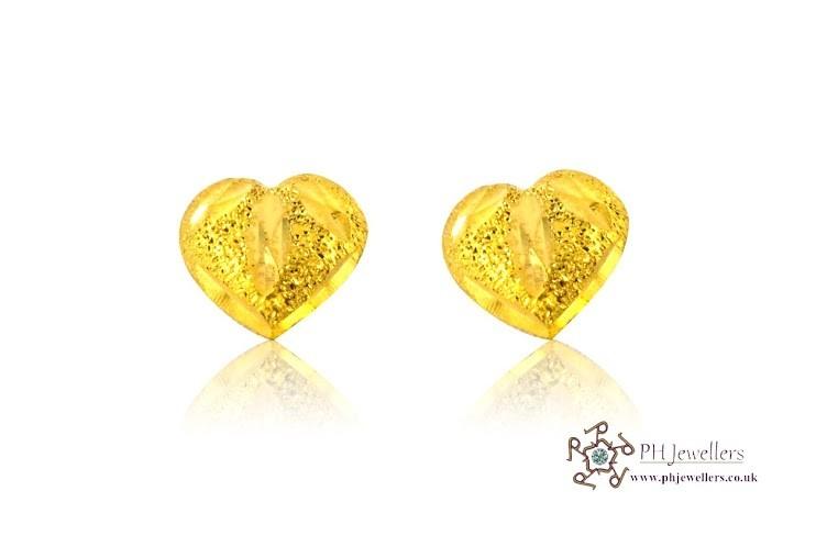 22ct 916 Yellow Gold Heart Earrings SE29