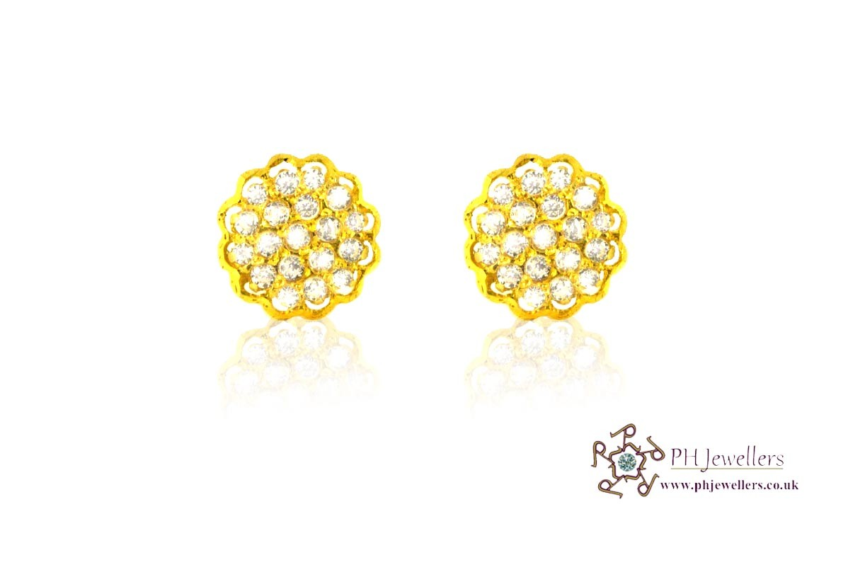 22ct 916 Yellow Gold Stud Earrings Tops CZ Screw SE31