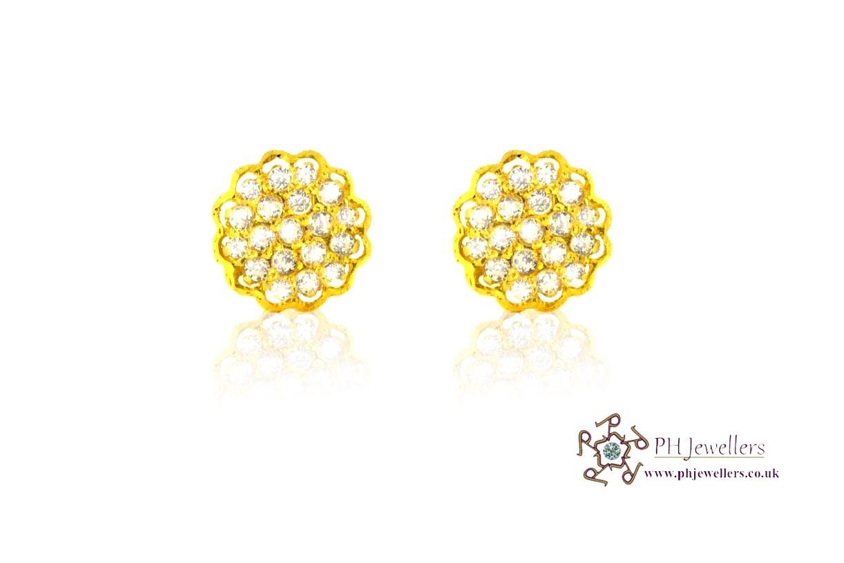 22ct 916 Yellow Gold Stud Earrings Tops CZ Screw SE31