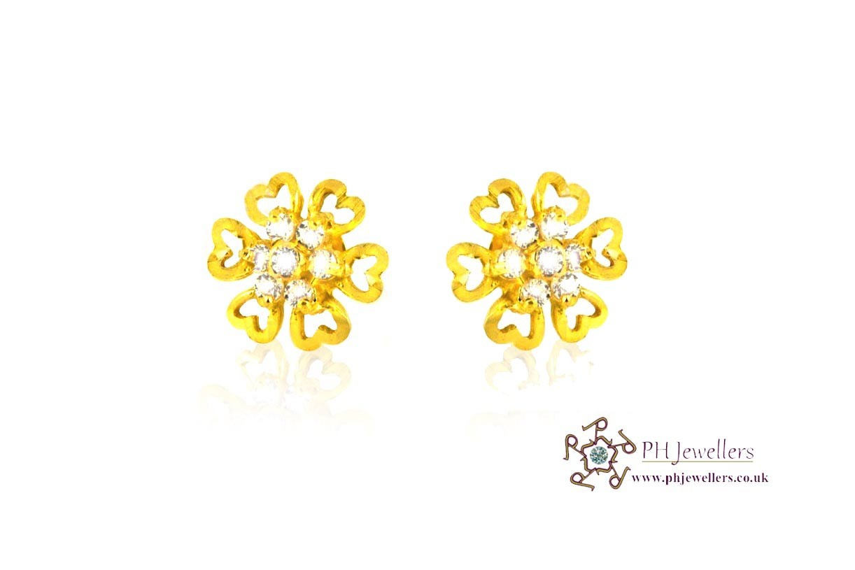 22ct 916 Yellow Gold Star Earrings CZ SE32