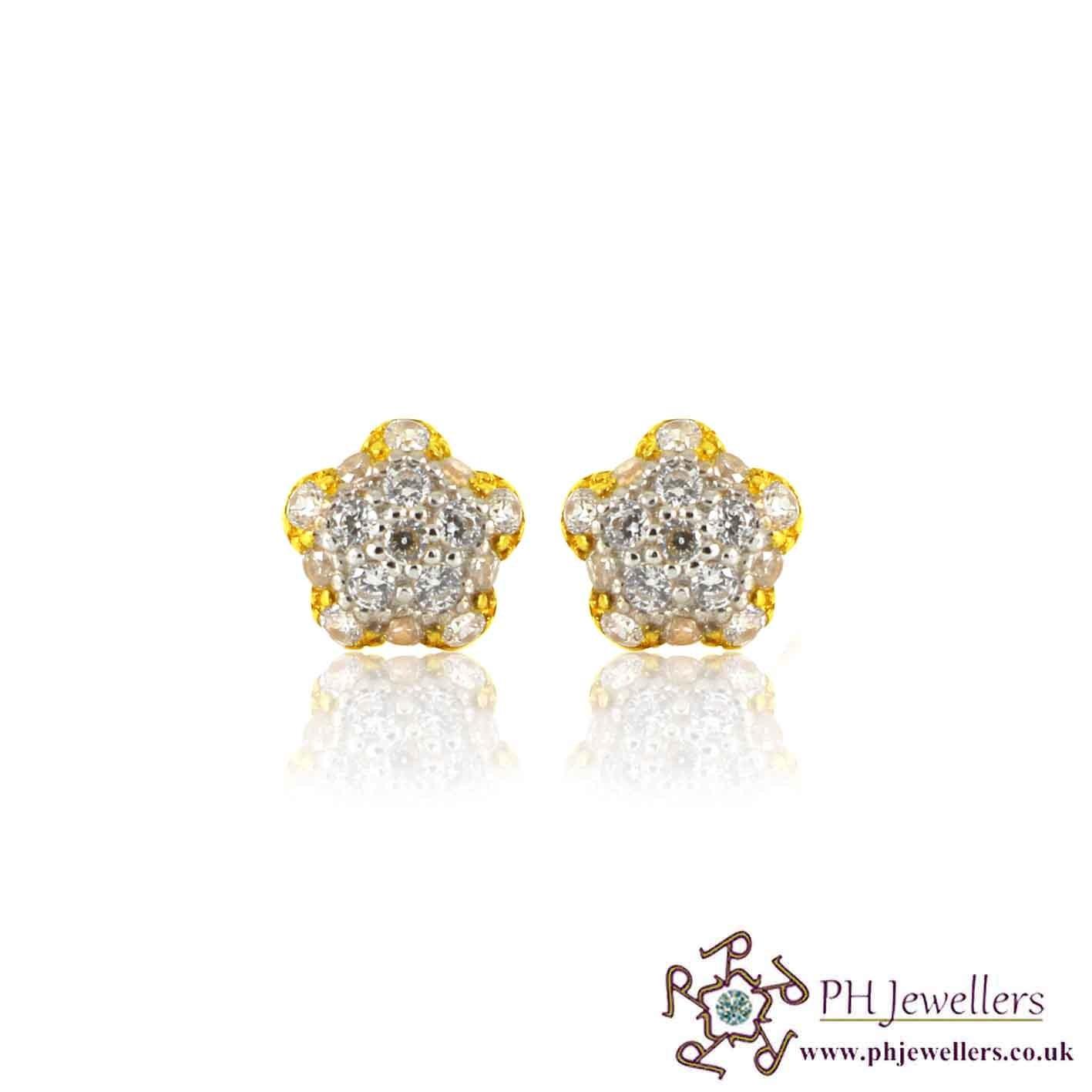 22ct 916 Yellow Gold Stud Rhodium Earring CZ SE35