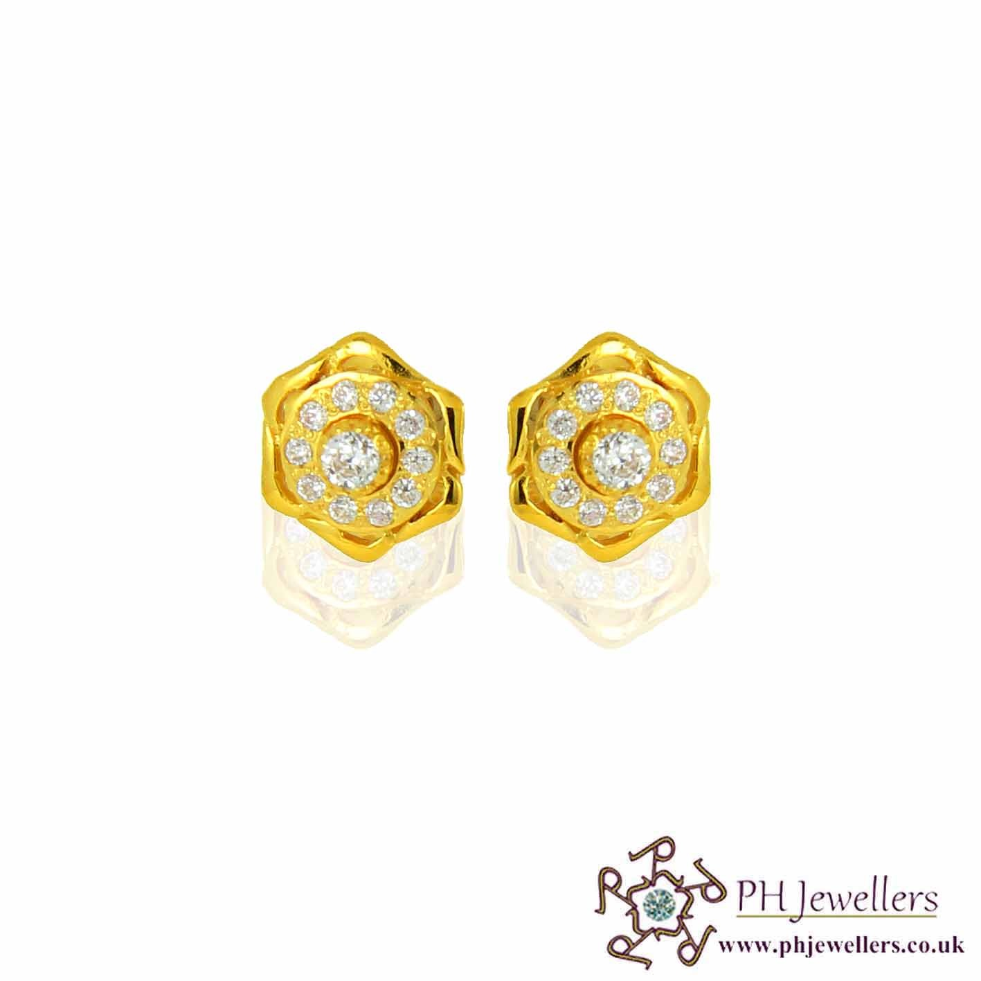 22ct 916 Yellow Gold Earring CZ SE41