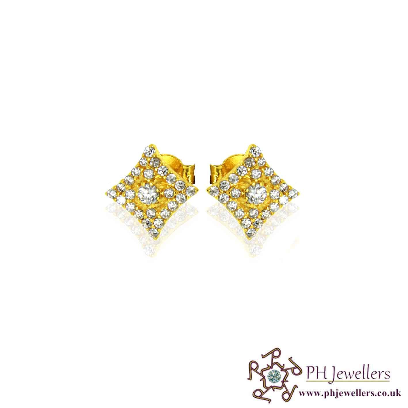 22ct 916 Yellow Gold Square Earring CZ SE43
