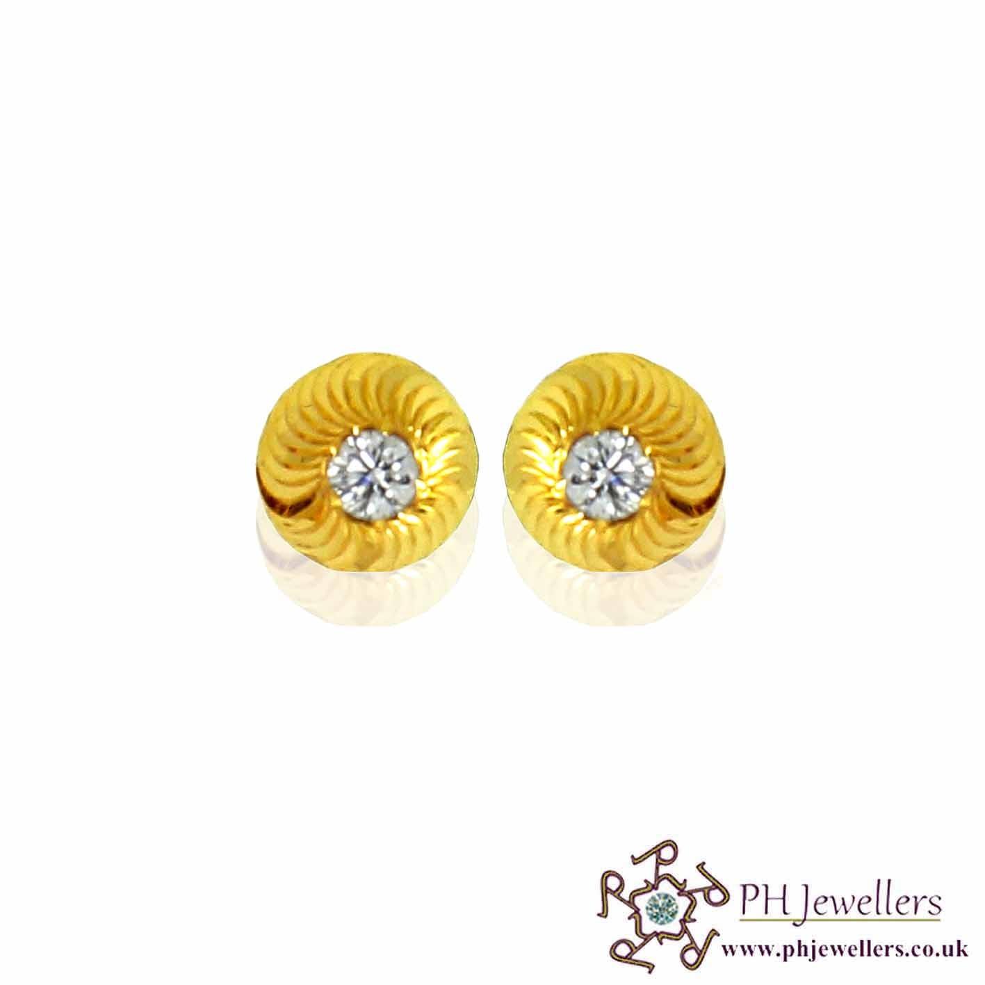 22ct 916 Yellow Gold Earring CZ SE45