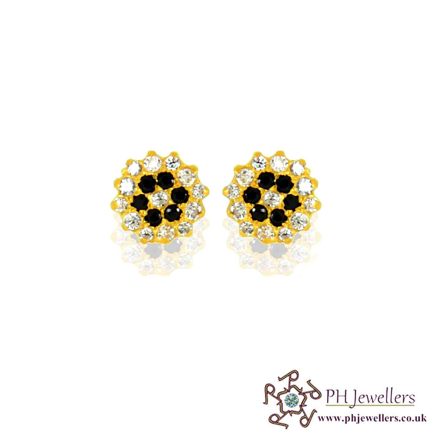 22ct 916 Yellow Gold Black/ White Earring CZ SE47