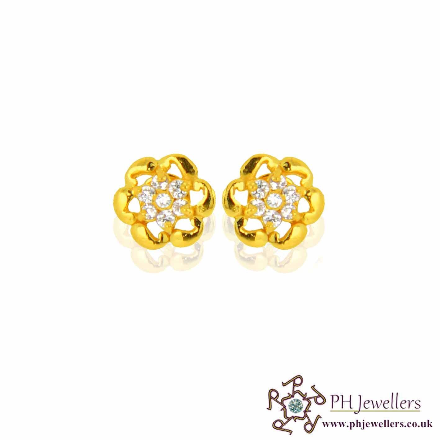 22ct 916 Yellow Gold Earring CZ SE49