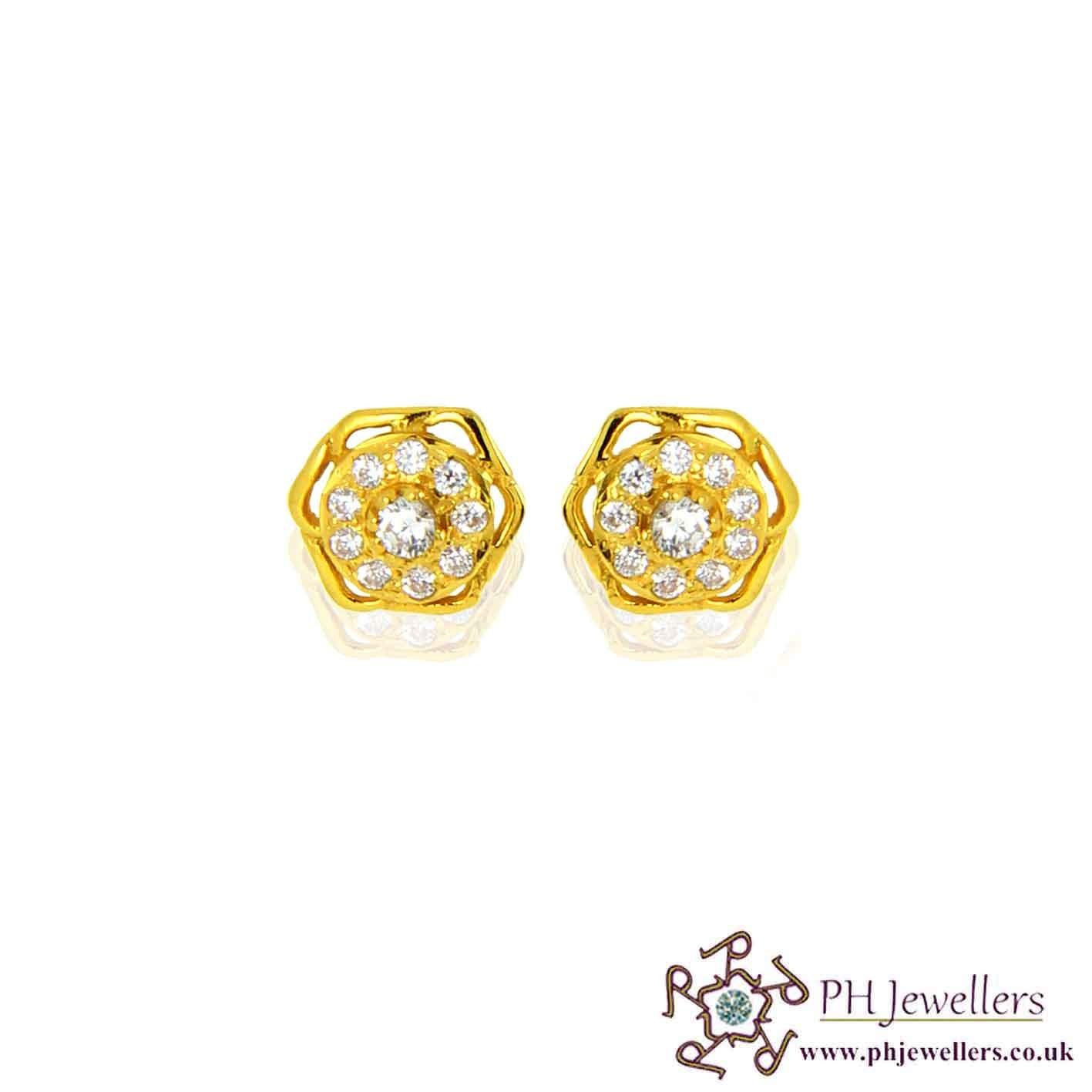 22ct 916 Yellow Gold Earring CZ SE52