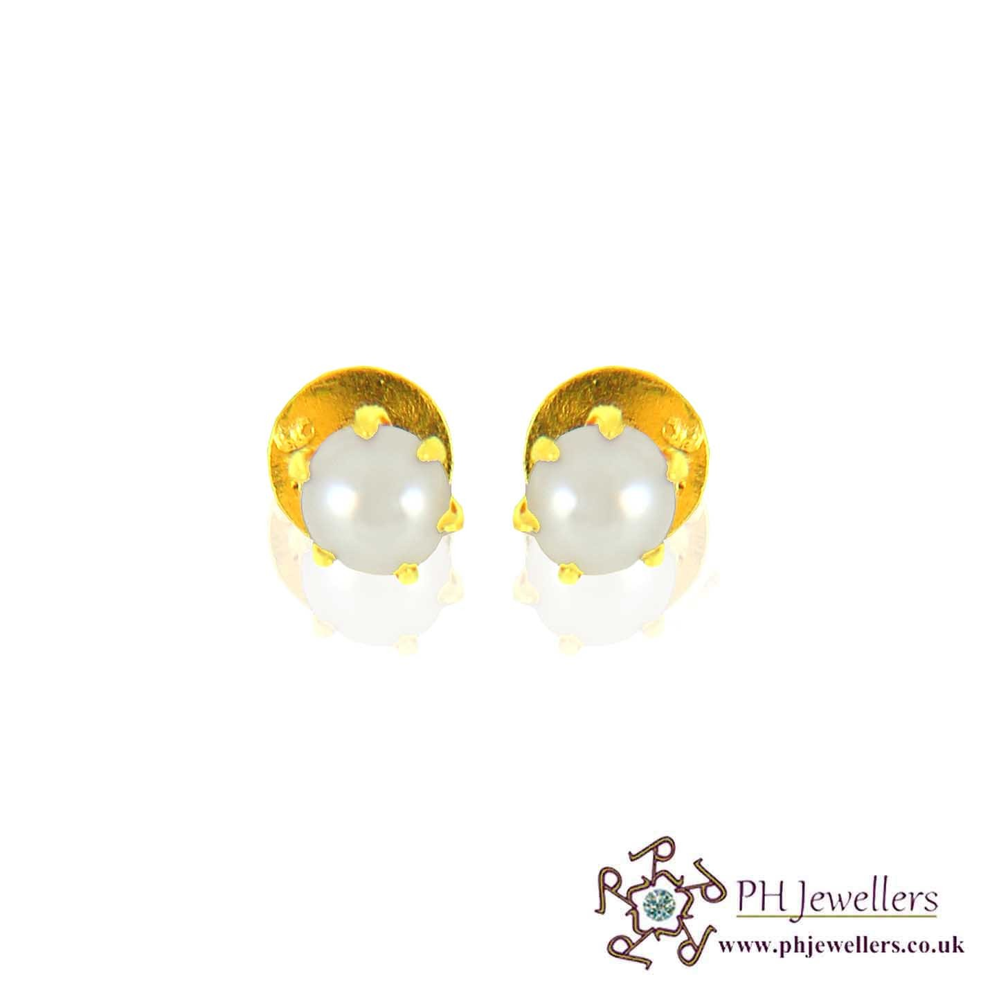 22ct 916 Yellow Gold Earring Pearl SE78