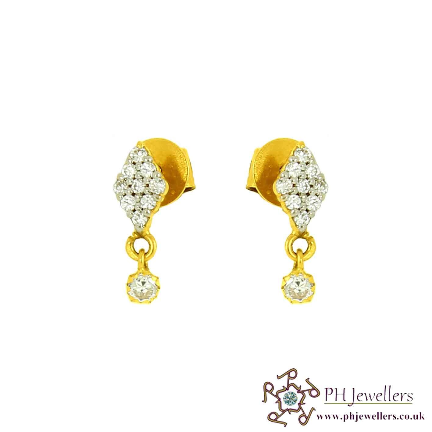 22CT 916 Yellow Gold Dangle Earring CZ SE57