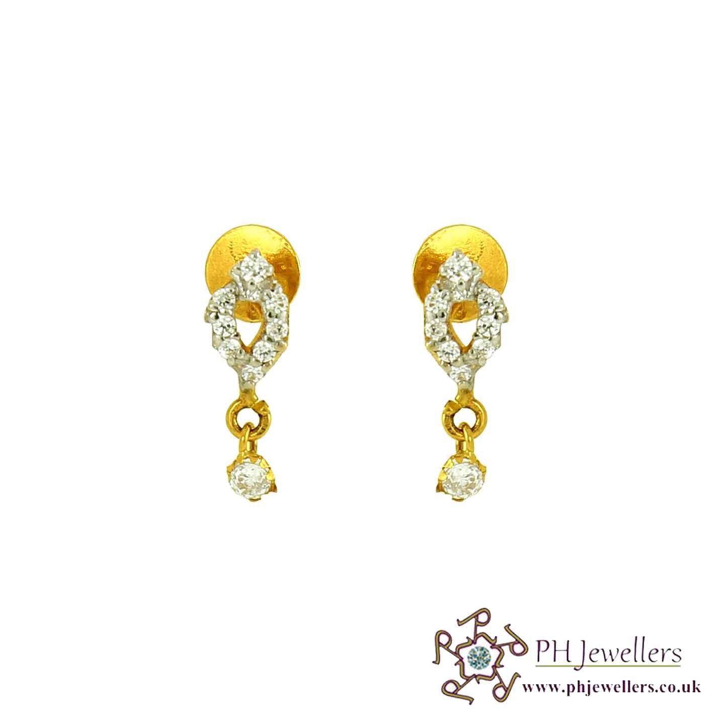 22CT 916 Yellow Gold Drop Style Dangle Rhodium Earring CZ SE58