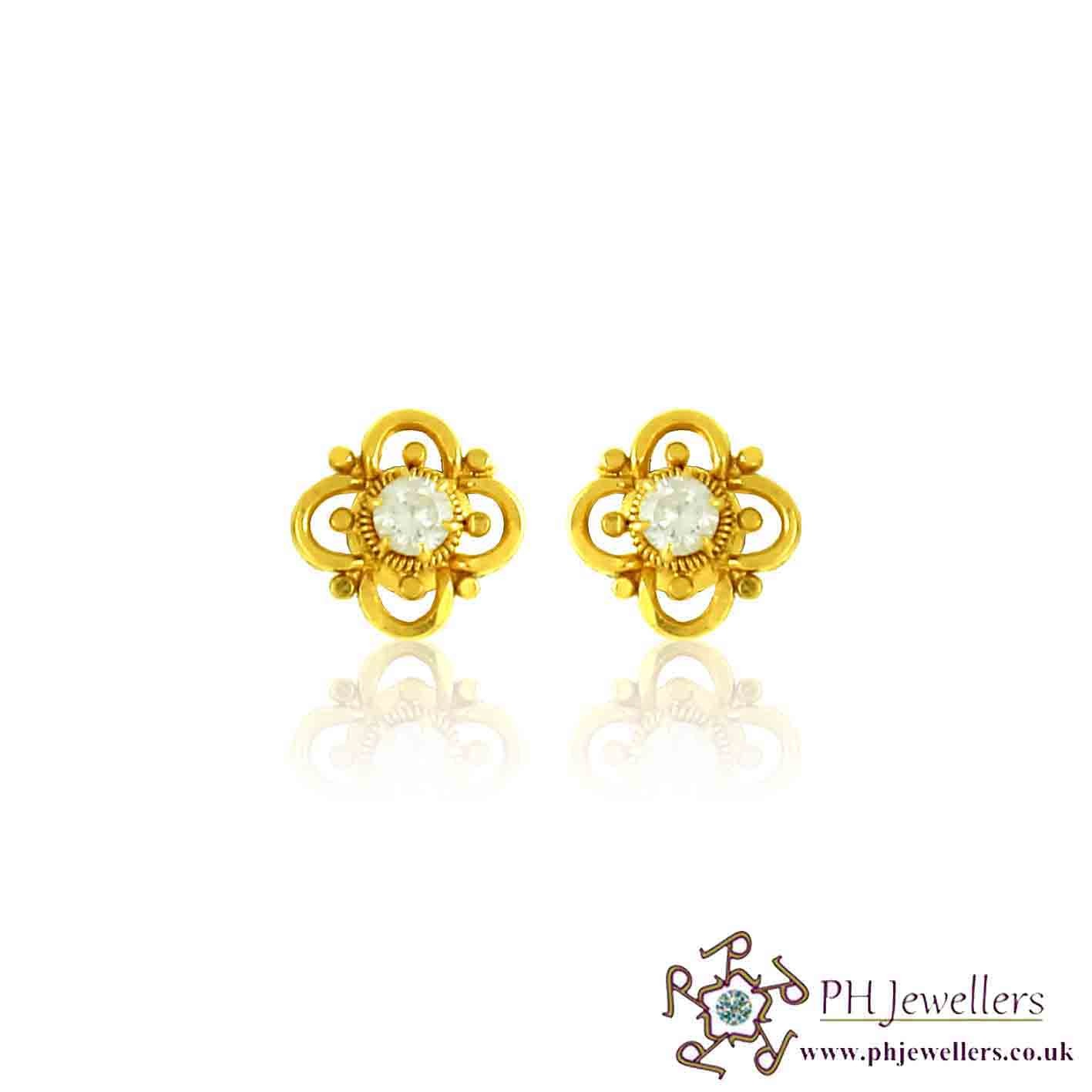 22CT 916 Yellow Gold Earring CZ SE59