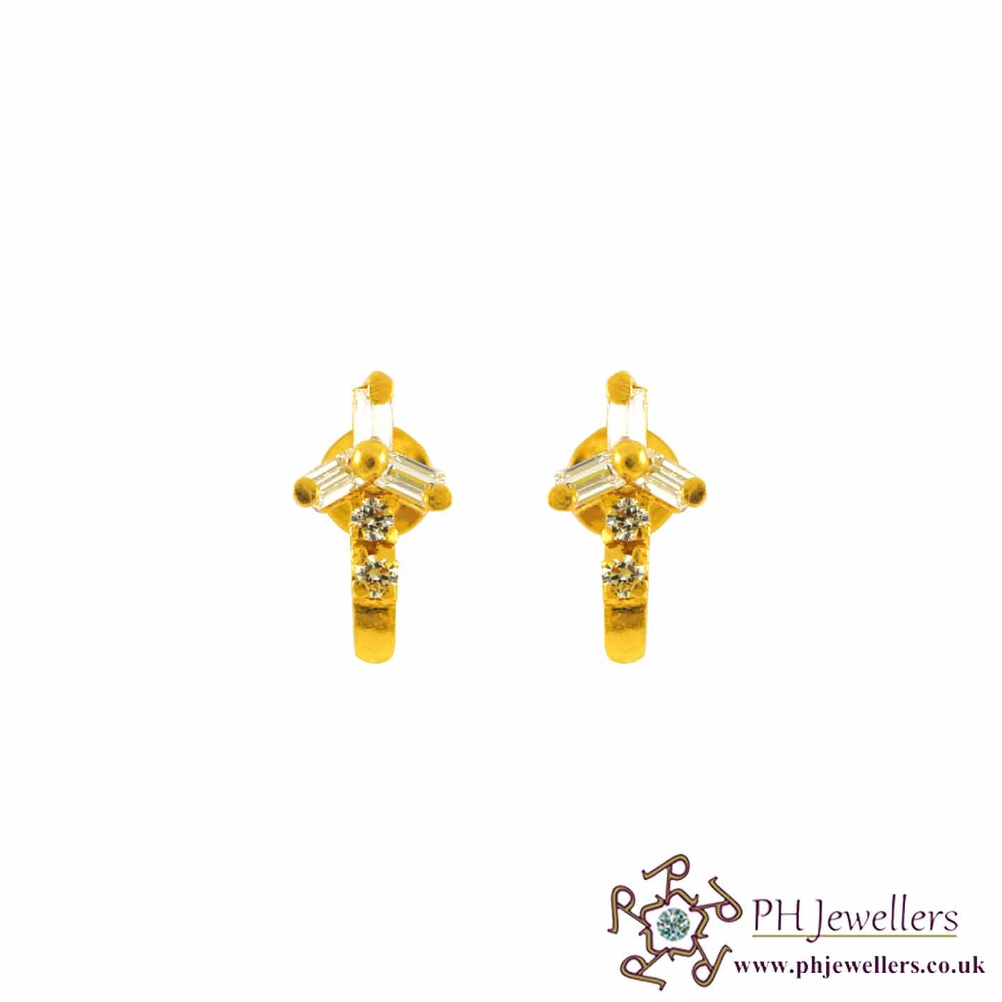 22CT 916 Yellow Gold Earring CZ SE60