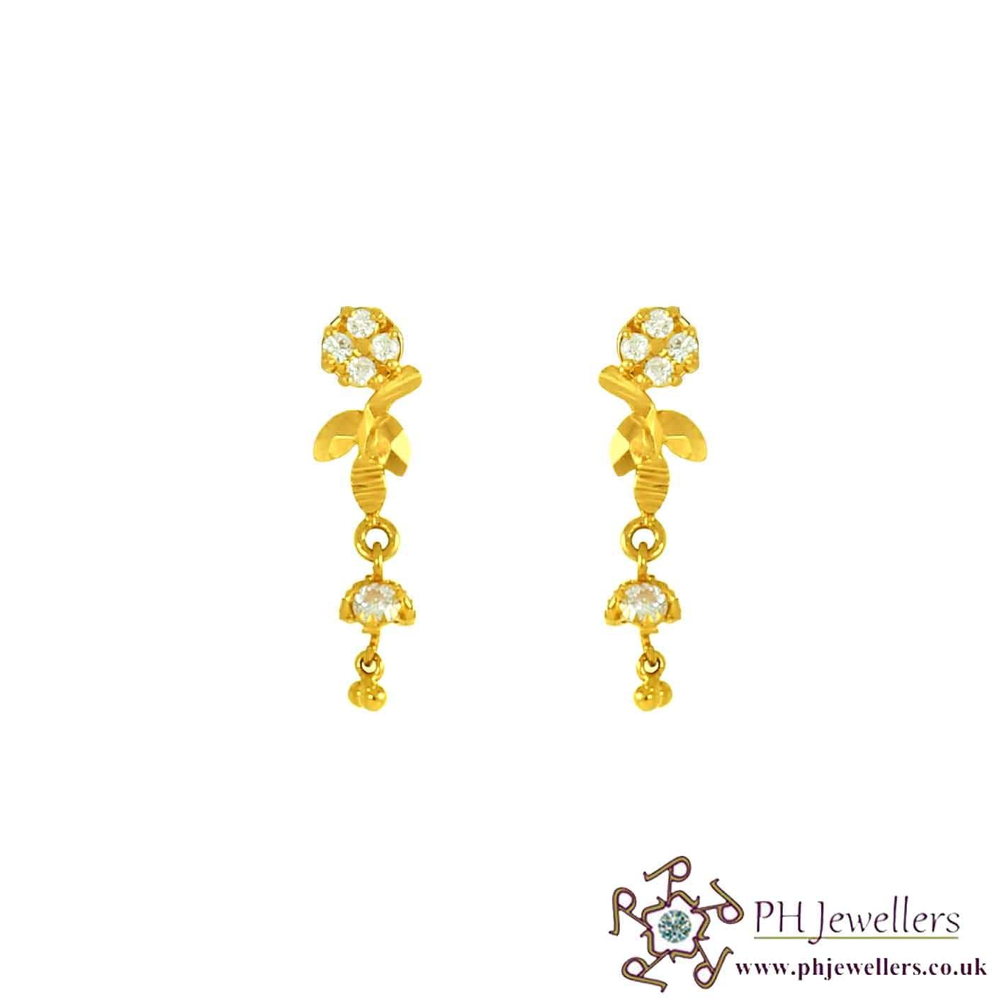 22CT 916 Yellow Gold Dangle Earring CZ SE61