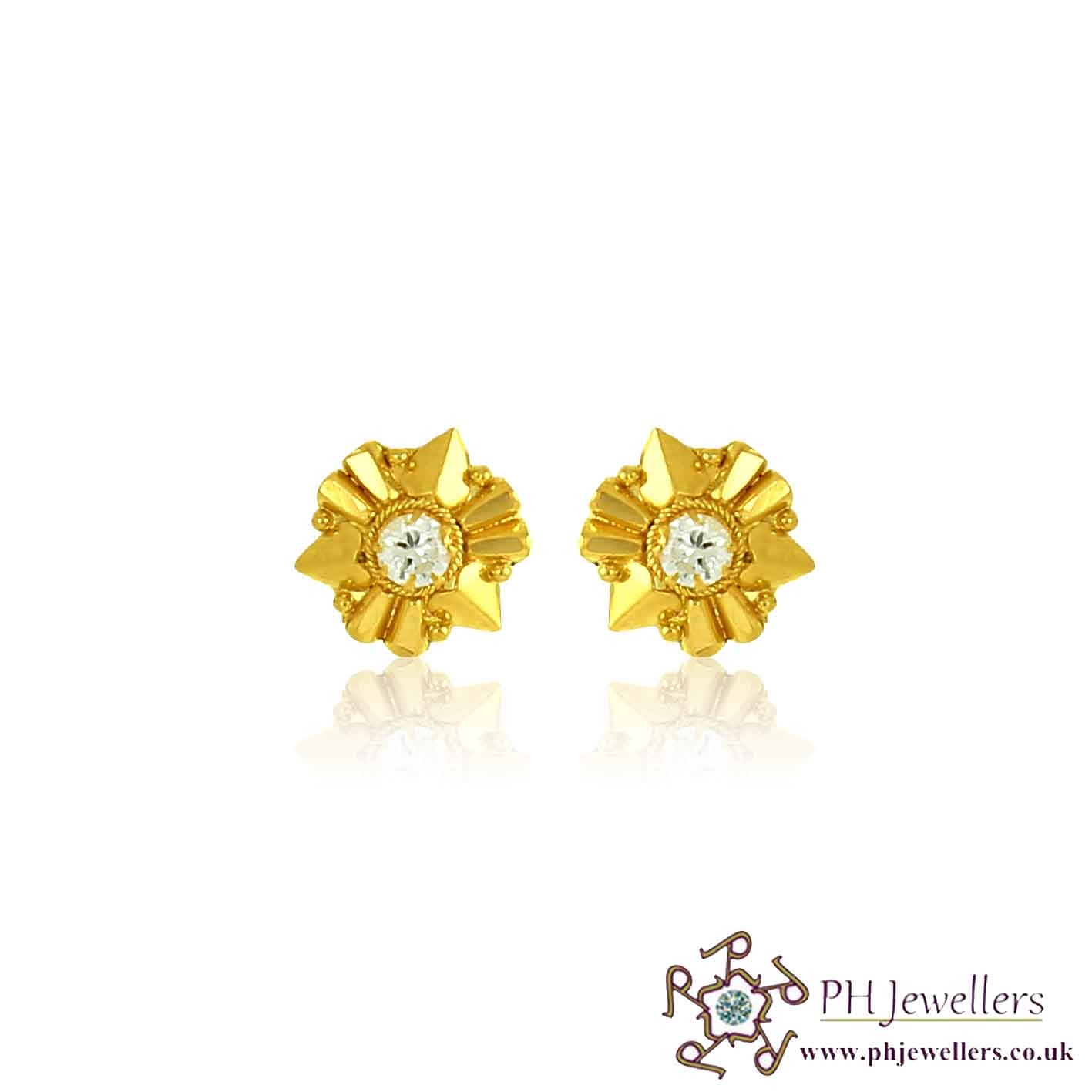 22CT 916 Yellow Gold Earring CZ SE62