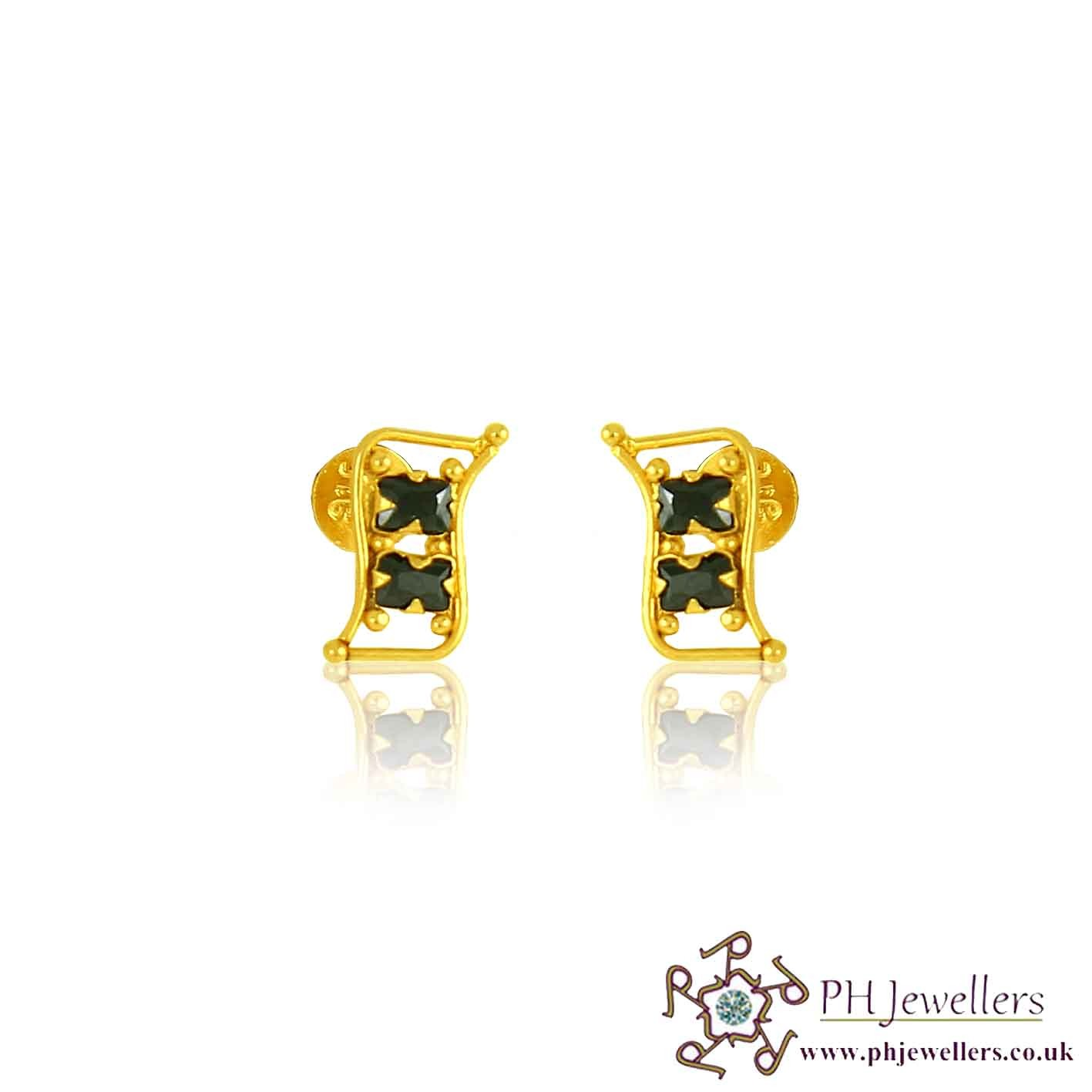 22CT 916 Yellow Gold Black Earring CZ SE63