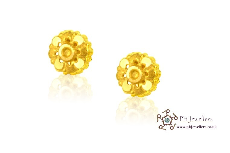 22ct 916 Yellow Gold Stud Earrings SE7