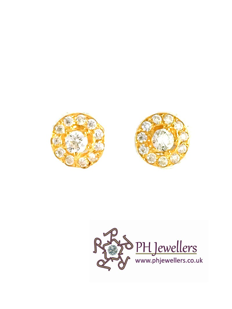22ct 916 Yellow Gold Round Stud with White CZ Earring SE74
