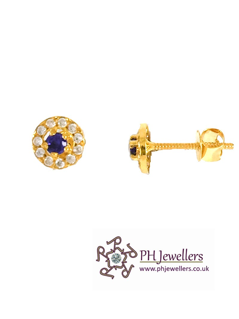 22ct 916 Yellow Gold Round Stud with White and Purple CZ Stones Earring SE75