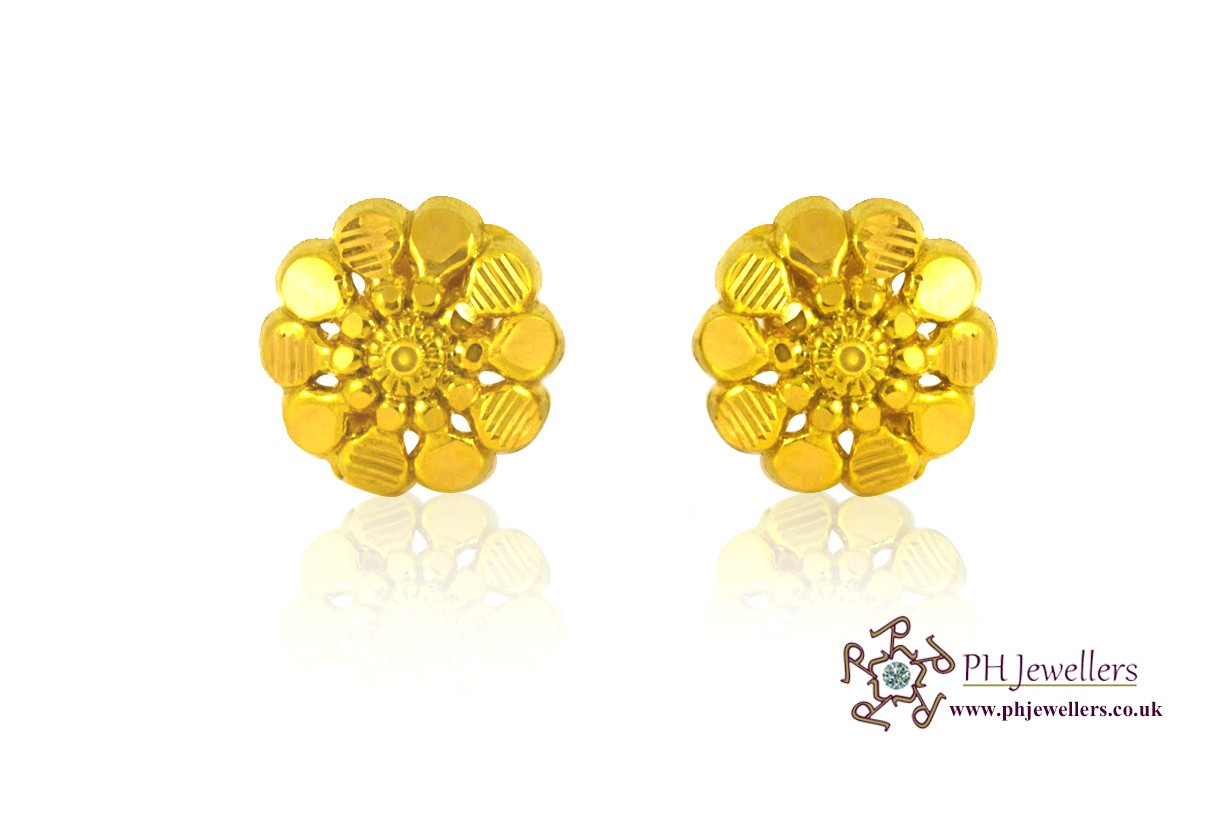 22ct 916 Yellow Gold Stud Earrings SE9