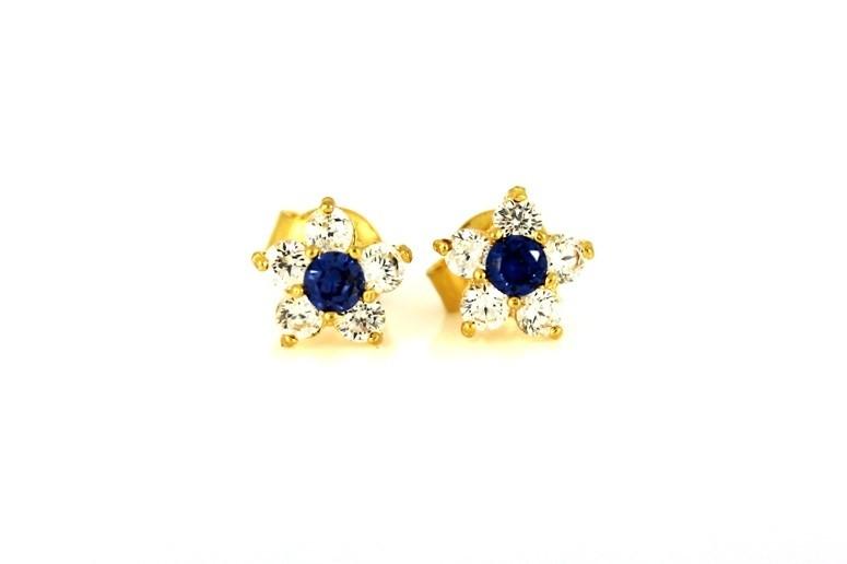 22ct 916 Yellow Gold Stud Flower Earrings Tops Blue CZ  SE93