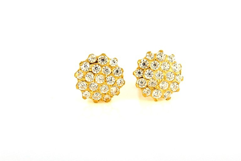 22ct 916 Yellow Gold Round Stud Earrings Tops CZ Screw SE95