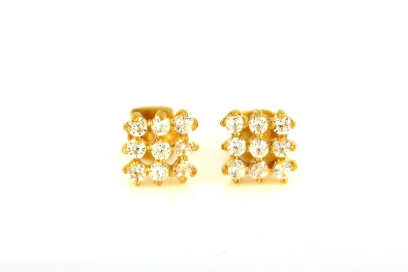 22ct 916 Yellow Gold Square Stud Earrings Tops CZ Screw SE96