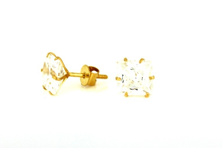 22ct 916 Yellow Gold Square Stud Earrings Tops CZ Screw SE97