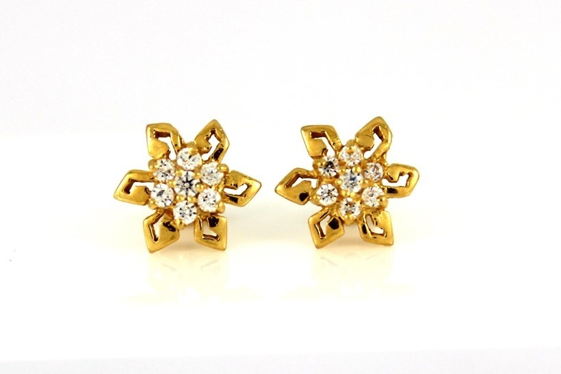 22ct 916 Yellow Gold Round Flower Stud Earrings Tops CZ Screw SE98