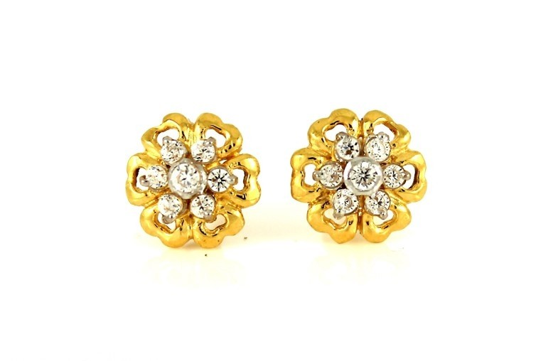 22ct 916 Yellow Gold Round Flower Stud Earrings Tops CZ Screw SE99