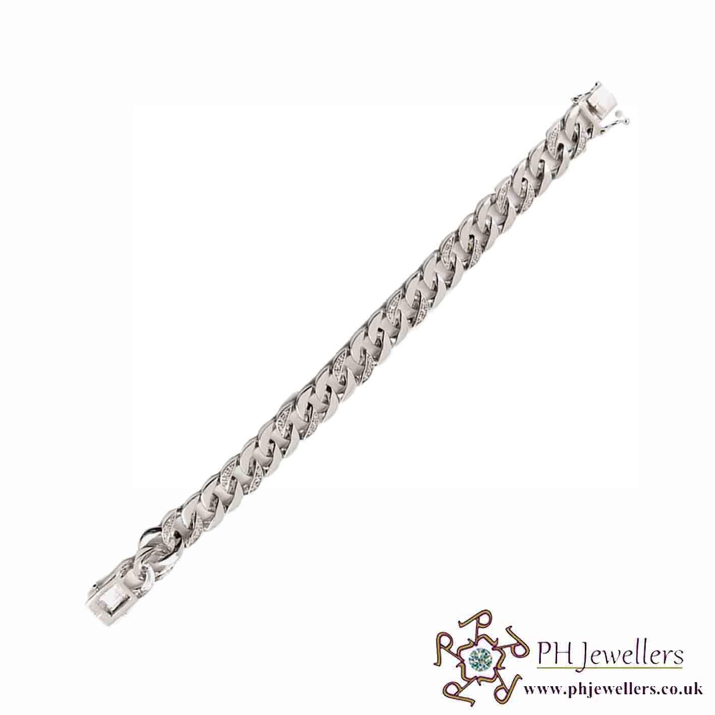 925 Sterling Silver  Curb Rhodium Bracelet CZ  SIBR1